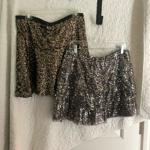 2 sequin skirts